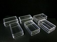 SMALL CLEAR PLASTIC BOXES Tiny Items Jewelry Beads Storage Container 12,24,72
