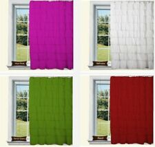 100% Cotton White 1 Pair Ruffled Window Curtain Panel Home Living Bed Room Shade