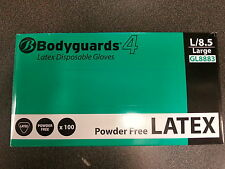 Bodyguards 4 White Disposable Latex Gloves Powder Free - 100 Gloves GL888