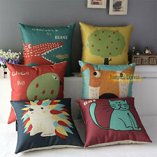Throw Sofa Decorative Cotton Linen Cushion Cover Pillow Case Cartoon Animals Dog