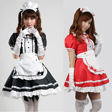 Japan Cosplay Sexy black / Red Beer Lolita Maid Outfit Costume dress Set apron