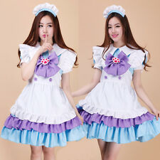 Japan Cosplay Sexy Blue purple cat claw Lolita Maid Outfit Costume dress apron