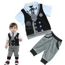 Baby Boy Xmas Gentleman Romper Wedding Christening Party Outfit Top + Pants Suit