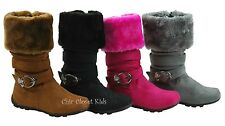 Little Girls JR Youth Mid Calf Tall Fux Suede Fur Collar Snow Winter Flat Boots