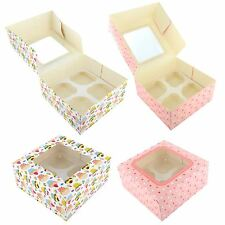 2x 4 Cup Cupcake Window Box With Removable Inserts Muffins Fairy Cakes Baking