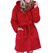 New Womens Soft Hooded Short Bath Robe Dressing Gown Housecoat Ladies Red