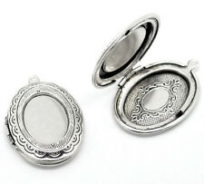 Wholesale Charm Silver Tone Oval Photo Frame Locket Pendants 34x24mm