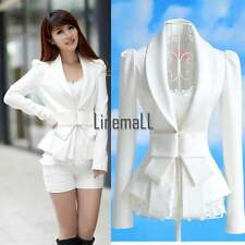 Womens OL Coat Career Tops Western Suit Blazer Jacket White Slim Big Bowknot LM