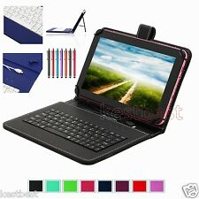 """Pen & Micro Keyboard Leather Case Cover For 7"""" RCA Android 7 inch Tablet"""