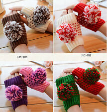 Winter lady Double Color Ball Hand Wrist Knitted Warmer Fingerless Mitten Gloves