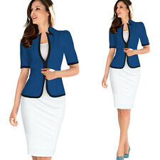 Womens Elegant Tartan Work Business Slim Stretch Fitted Bodycon Pencil Skirt 006