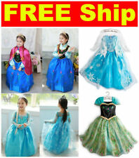 Frozen Elsa Anna Costume Disney Princess Dresses Little Girl Kids Party Dress