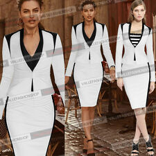 Womens Colorblock Work Business Suit Jacket Blazer & Bodycon Pencil Skirt 171