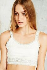 Urban Outfitters Cream Stretch Lace  Crop Top Cropped Bralet BNWT UK L UK 12 30W