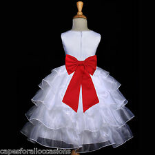 WHITE CHRISTMAS HOLIDAY RED TODDLER TIERED ORGANZA FLOWER GIRL DRESS 2 4 6 8 10