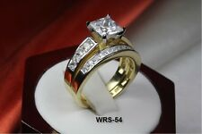6.06C 2 TONE PRINCESS CZ VNTG BRIDAL ENGAGEMENT RING WEDDING RING SET-WRS54-MS