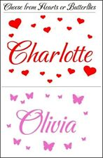 Personalised Name Wall Art Butterflies / Hearts Vinyl Sticker Girls Room Bedroom