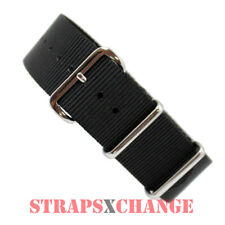 PREMIUM NATO® G10 BLACK Military Diver's Watch Strap Band 4 Ring NYLON