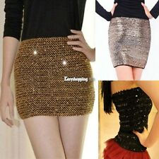 Sexy Women Girl Glitter Shiny Sequins Bodycon Mini Skirt Short Tight Tops ES9P