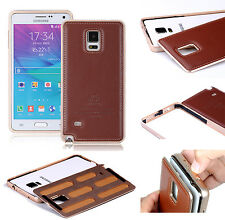 Luxury Genuine Leather Metal Aluminum Frame Bumper Case Cover For Samsung Apple