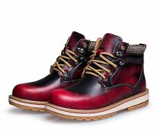 Winter Mens Casual leather Warm Ankle Boots fur hiking Sneakers work Snow Shoes