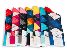 Happy Socks Men's Check Argyle Cotton Socks Size 10-13  **Avail in Many Colors**