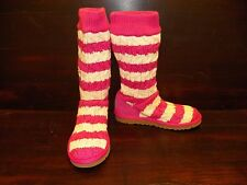 New Womens UGG STRIPE CABLE KNIT Fushia Cream Tall Boots