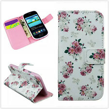 Pink Flowers Sweet Blooms Bouquet PU Leather Cover Stand TPU Case For Cell Phone