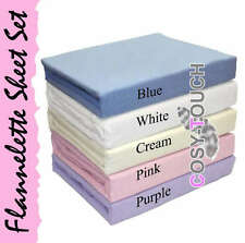 Deluxe 100% Cotton Flannelette Flannel Fitted Sheet Bed Sheets Bedding