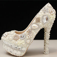 FairOnly Pearls Crystals High Stiletto Evening Party Formal Bridal Wedding Shoes