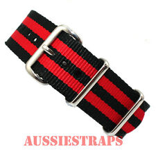 NATO® G10 BLACK RED BOND STRIPE military diver's watch strap band 4 RING NYLON