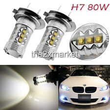 H7 80W LED Super Bright White Fog Tail Driving Head Car Light Lamp DRL Bulb Kit