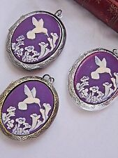 #JR112814- QUALITY STYLE JEWELRY CAMEO HUMMINGBIRD LOCKET PHOTO PURPLE MEMORIAL