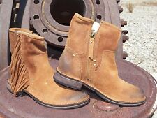 New Womens UGG LAYNE Chestnut Short Fringe Western Suede Boots All Sizes Burnish