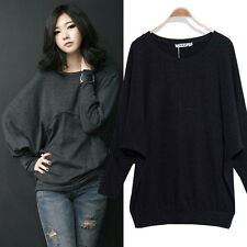 Fashion Womens Batwing Loose Casual Cotton Long Sleeve T-Shirts Tops Blouse