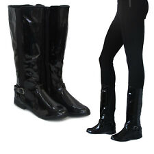 WOMENS LADIES KNEE HIGH  ELASTIC STRETCH ZIP CHELSEA LOW HEEL BLACK BOOTS SHOES