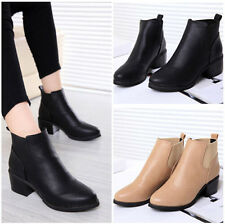 Women Pointed Toe Faux Leather Block Mid-heel Chelsea Ankle Boots Booties Shoes