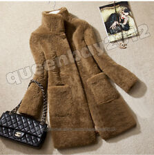 X'cam Gift 100% Real sheared Lamb Fur Long Coat Outwear Jacket High Quality New