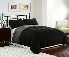 KING Size 3pc Reversible Down Alternative Comforter Set, BLACK/GREY Bed Cover