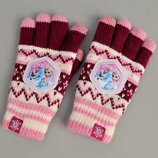 Disney Frozen Winter Snow Full Finger Gloves Knit Insulated Warm W/ Touch Screen