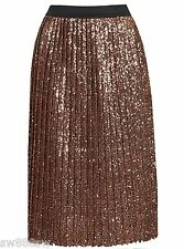 £75 TOPSHOP Bronze Rose Gold Sequin Pleated Midi Skirt High Waist 6 8 10 12 NEW