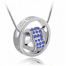 Rhinestone Crystal Heart Ring Necklace Pendant Love Xmas Gift For Daughter Wife