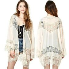 Women Gypsy Boho Hippie Lace Crochet Floral Kimono Cardigan Jacket Tops Blouse