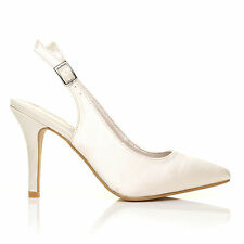 FAITH Ivory Satin Stiletto High Heel Slingback Bridal Court Shoes