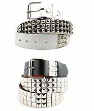 3-Row Metal Pyramid Studded Leather Belt Men's Women's Punk Rock Goth Emo