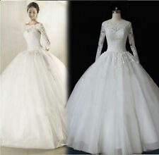 New 2015 White/Ivory Wedding Dresses Long Sleeve Ball gown Bridal Gowns Custom