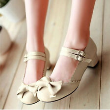 Delicate Women Mary Janes Buckle Strap Low Heel Pumps Lolita Bowknot Shoes CA EF