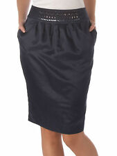 Pied A Terre Beaded Waistband Pencil Casual Office Skirt Navy Blue Size 8 10 12