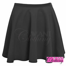 NEW WOMENS LADIES JERSEY SKATER SKIRT FLARED THICK STRETCH WAIST SKIRTS LOOK