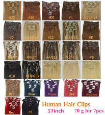 7PCS CLIP IN REMY REAL HUMAN HAIR EXTENSIONS FULL HEAD 27COLORS 15INCH LENGTH